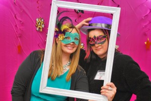 Library staff, Lauren Lee and Michelle Barnaby, enjoy the evening.